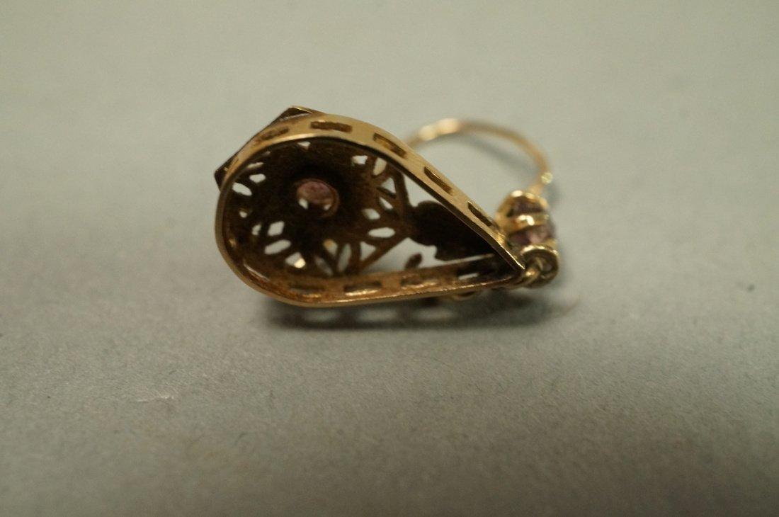 Pair 14K Gold Dangle Earrings. Filigree with smal - 5