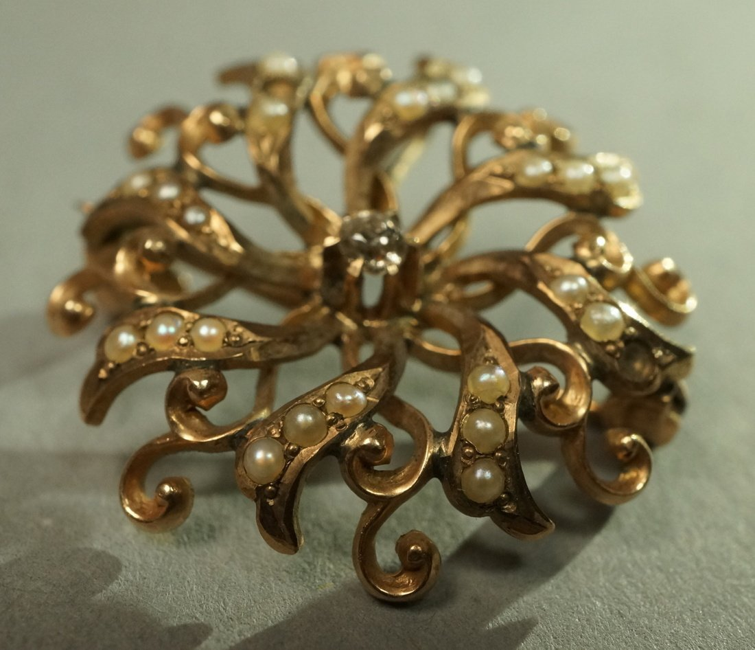 14K Gold and Seed Pearl Floral Brooch Pin.  Set w