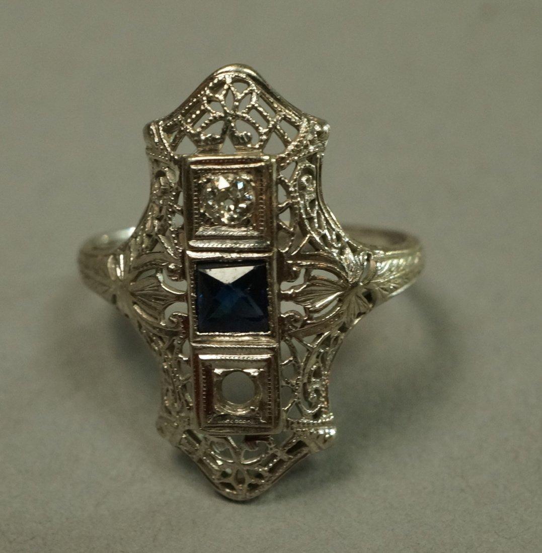 Art Deco Platinum Diamond and Sapphire Ring.  Fil