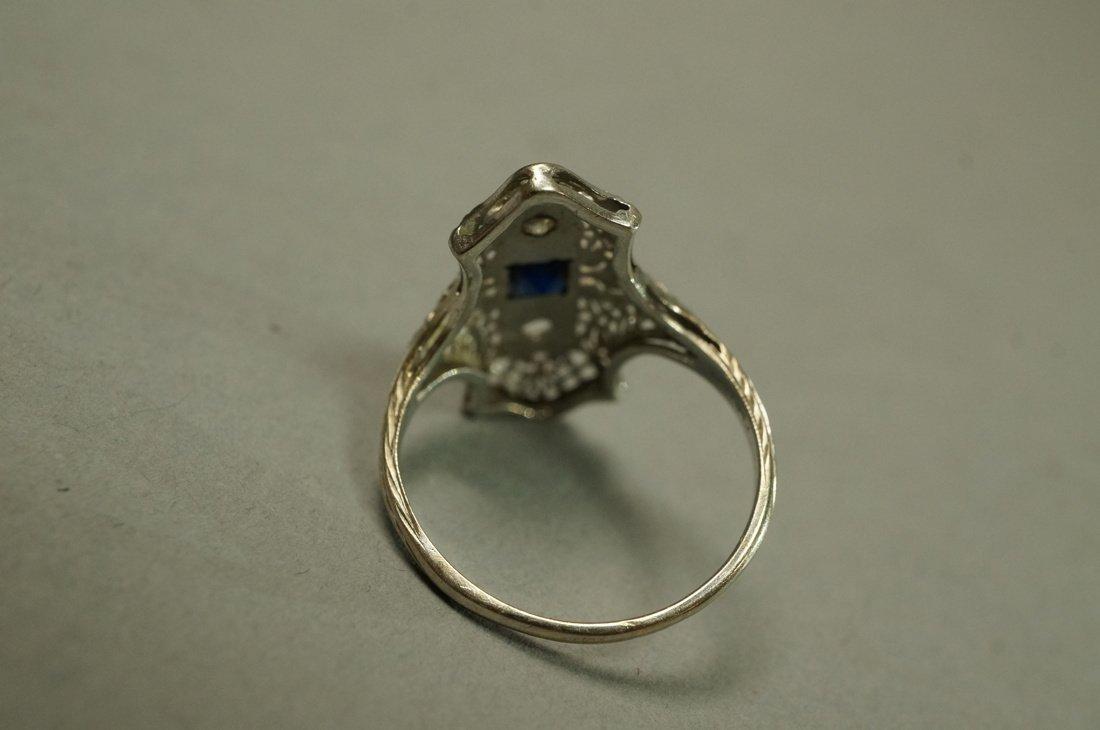 Art Deco Platinum Diamond and Sapphire Ring.  Fil - 2