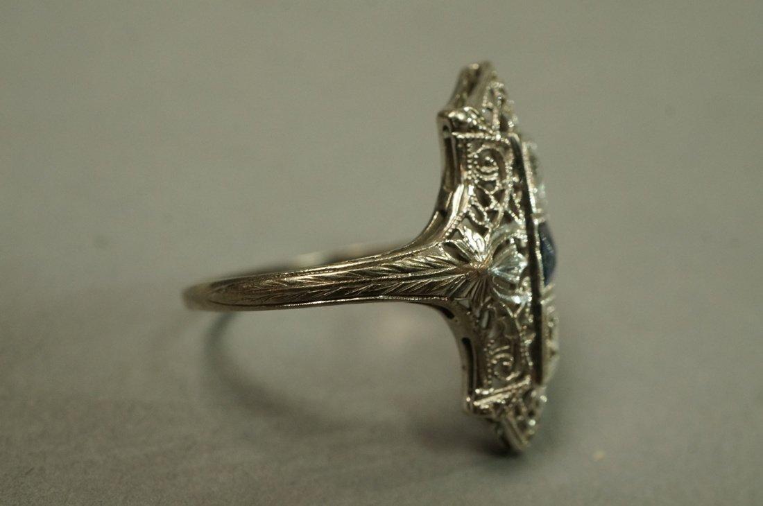 Art Deco Platinum Diamond and Sapphire Ring.  Fil - 3