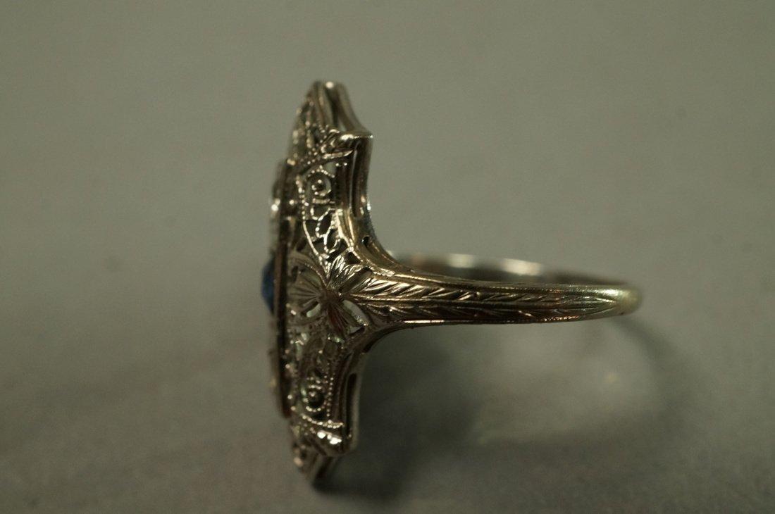 Art Deco Platinum Diamond and Sapphire Ring.  Fil - 4