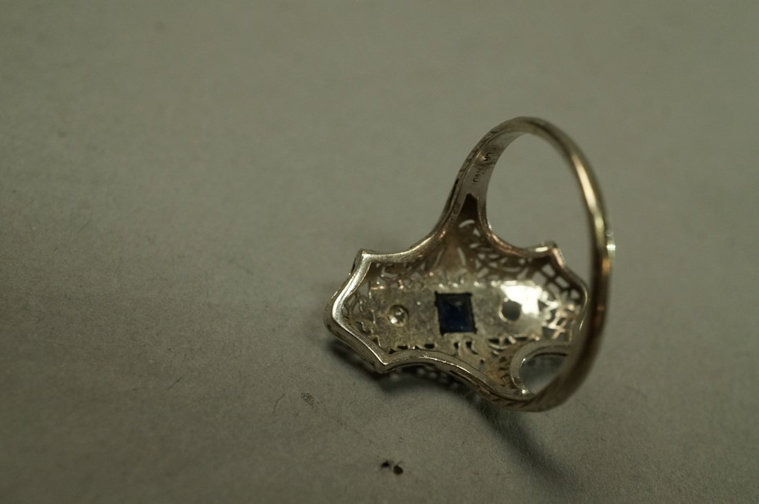 Art Deco Platinum Diamond and Sapphire Ring.  Fil - 5