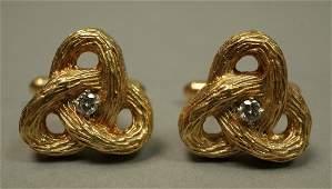 Pair Heavy 14K Gold Custom Cufflinks. Twisted fo