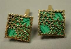 Pair 14K Gold Cufflinks with Malachite  Hallmark