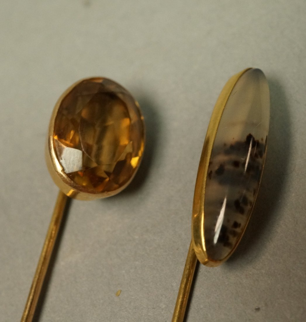 2 14K Gold and Stone Stickpins.  1 moss agate and