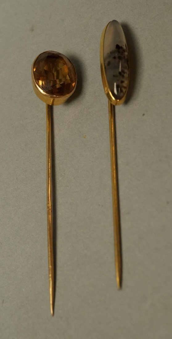 2 14K Gold and Stone Stickpins.  1 moss agate and - 2