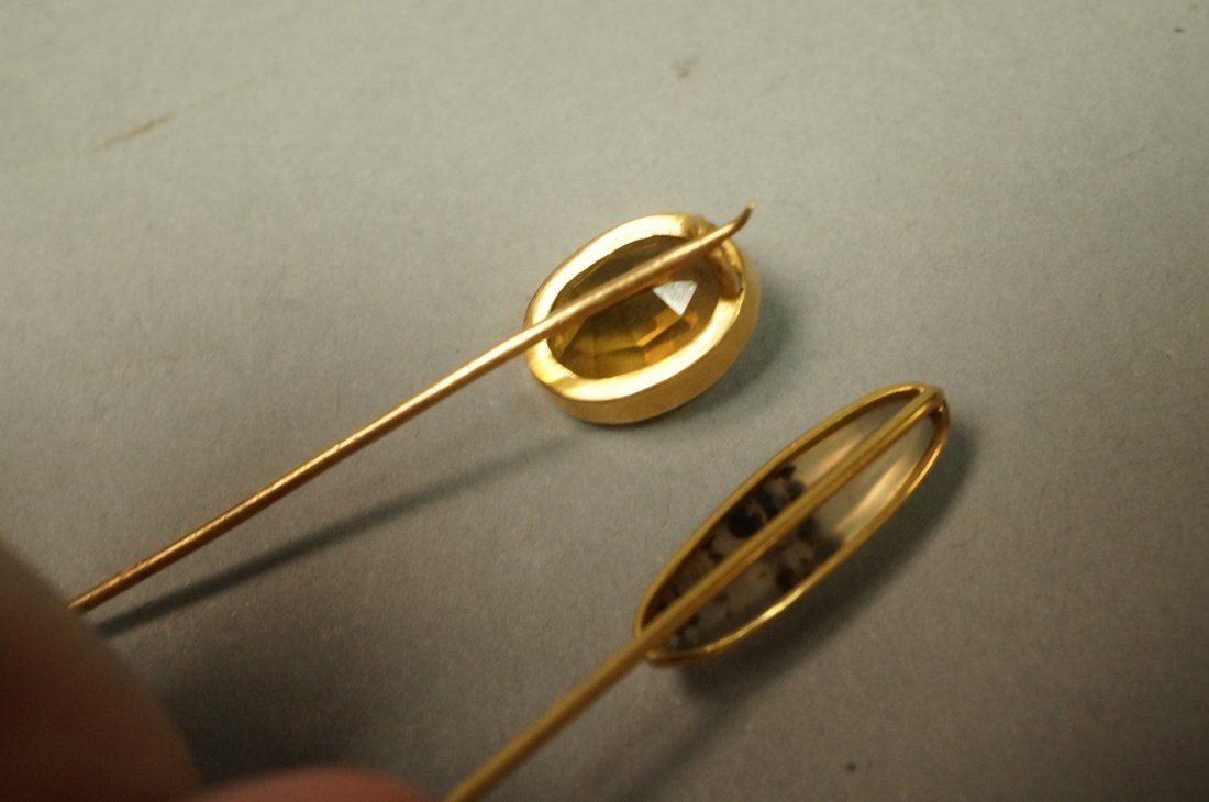 2 14K Gold and Stone Stickpins.  1 moss agate and - 4
