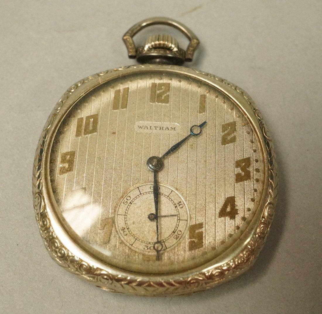 14K Gold Waltham Pocket Watch.  Engraved open case