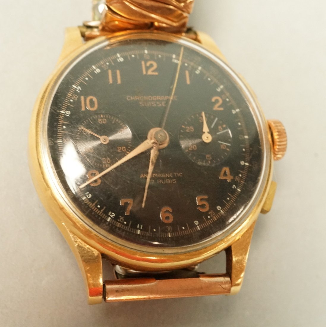 18K Gold Chronographe Suisse Wrist Watch.  Large