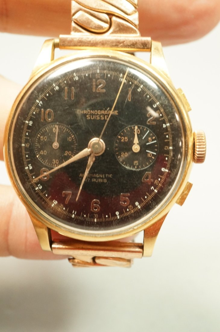 18K Gold Chronographe Suisse Wrist Watch.  Large - 2