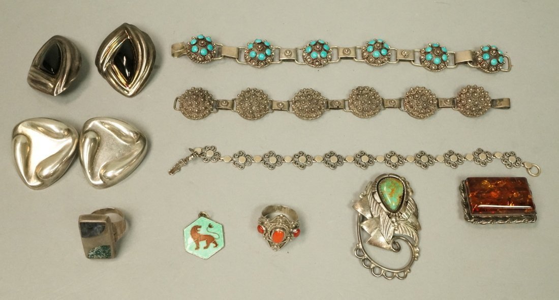 12pc Sterling & Silver Costume Jewelry Lot. 2 Lar
