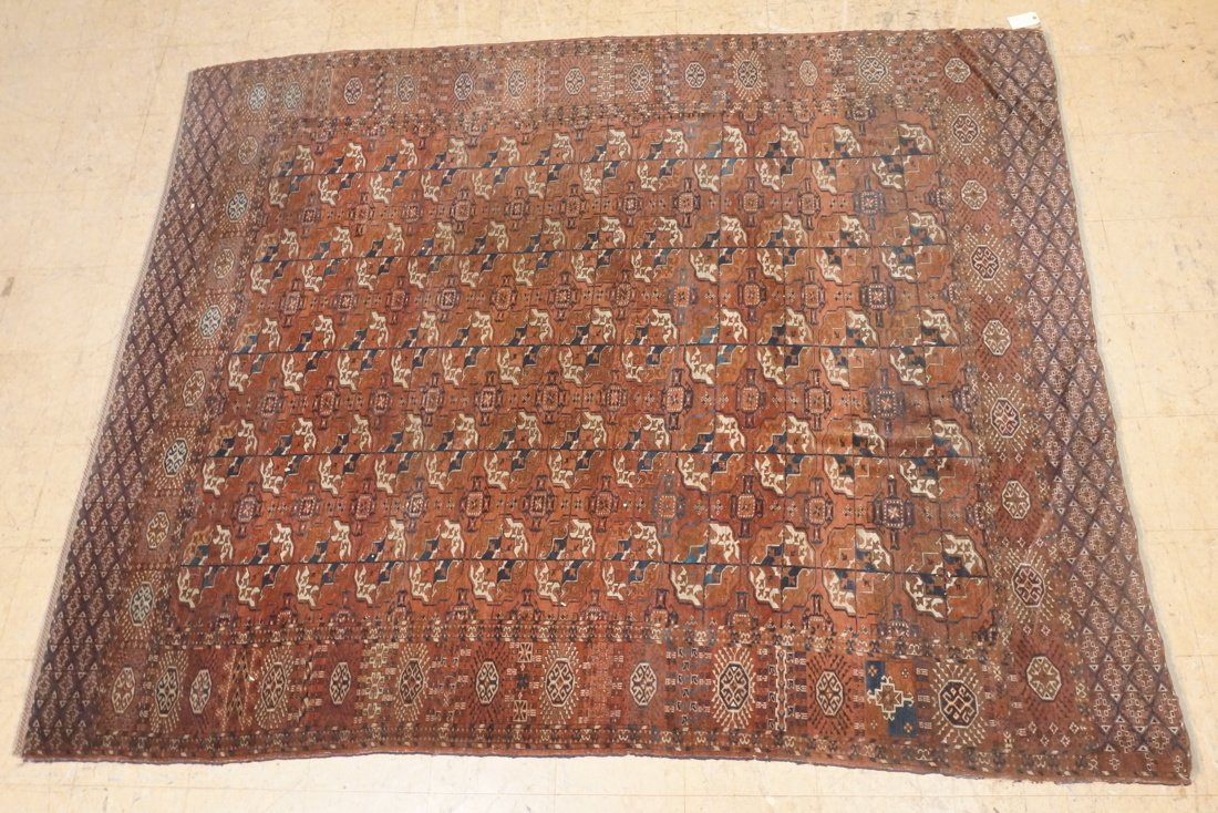 9'4 x 7'3 Brown BOKHARA carpet rug repeating patt
