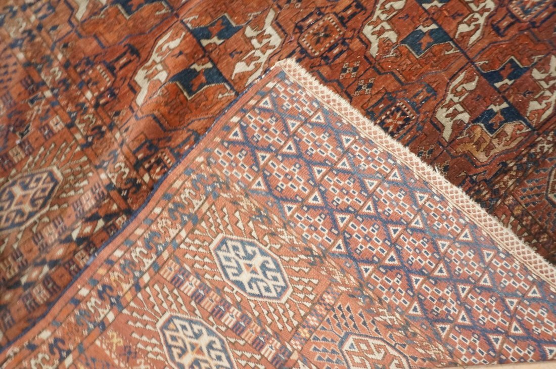9'4 x 7'3 Brown BOKHARA carpet rug repeating patt - 7