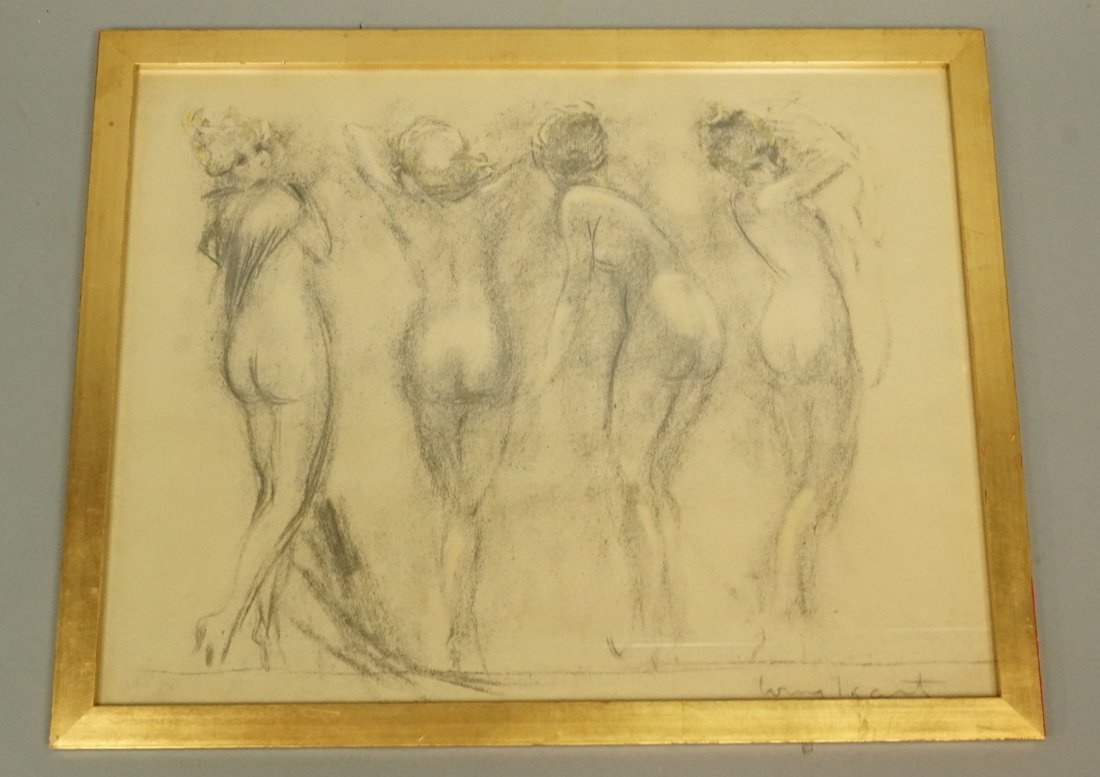 Louis Icart Drawing. Four Nudes. Signed. Framed.
