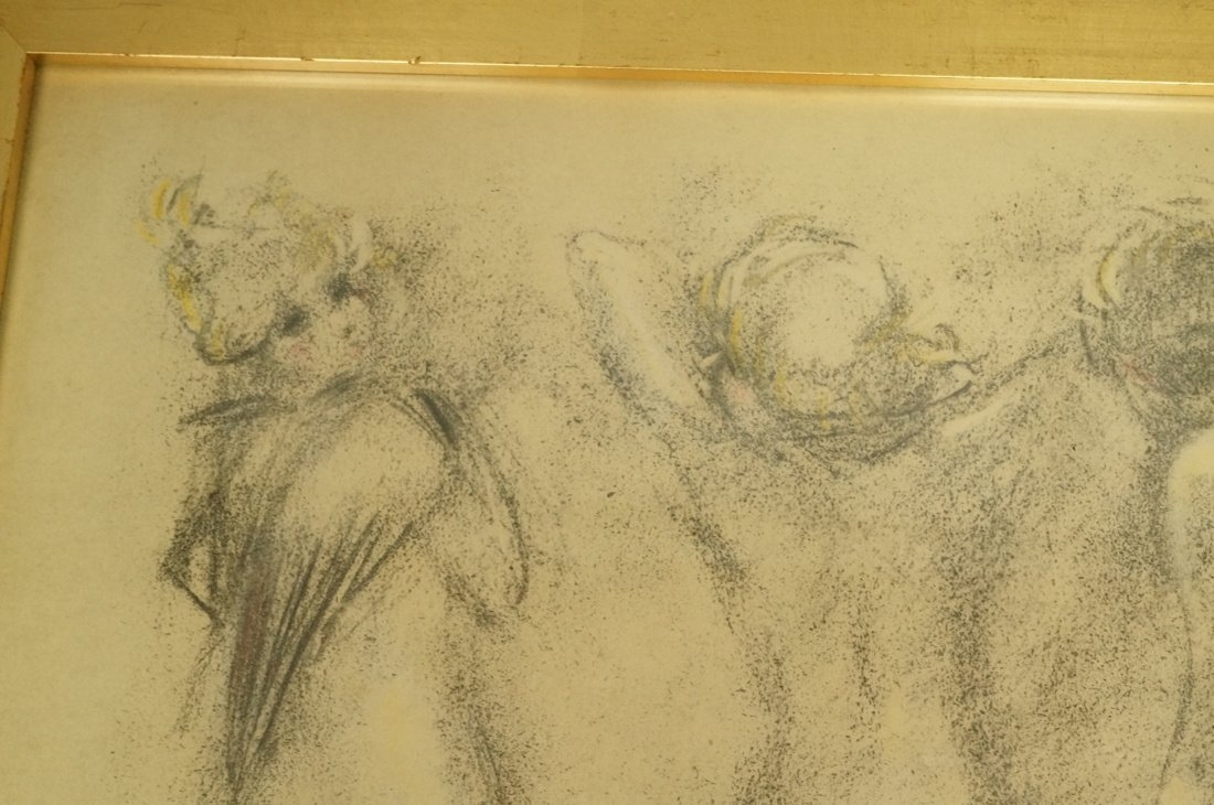 Louis Icart Drawing. Four Nudes. Signed. Framed. - 2