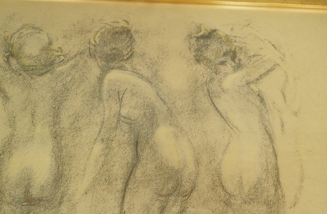 Louis Icart Drawing. Four Nudes. Signed. Framed. - 3