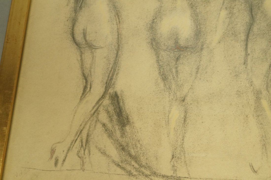 Louis Icart Drawing. Four Nudes. Signed. Framed. - 4