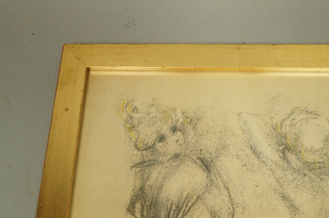 Louis Icart Drawing. Four Nudes. Signed. Framed. - 7