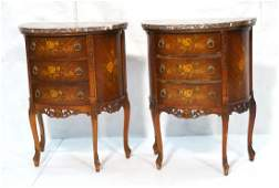 Pr Marble Top End Tables Night Stands Demi lune