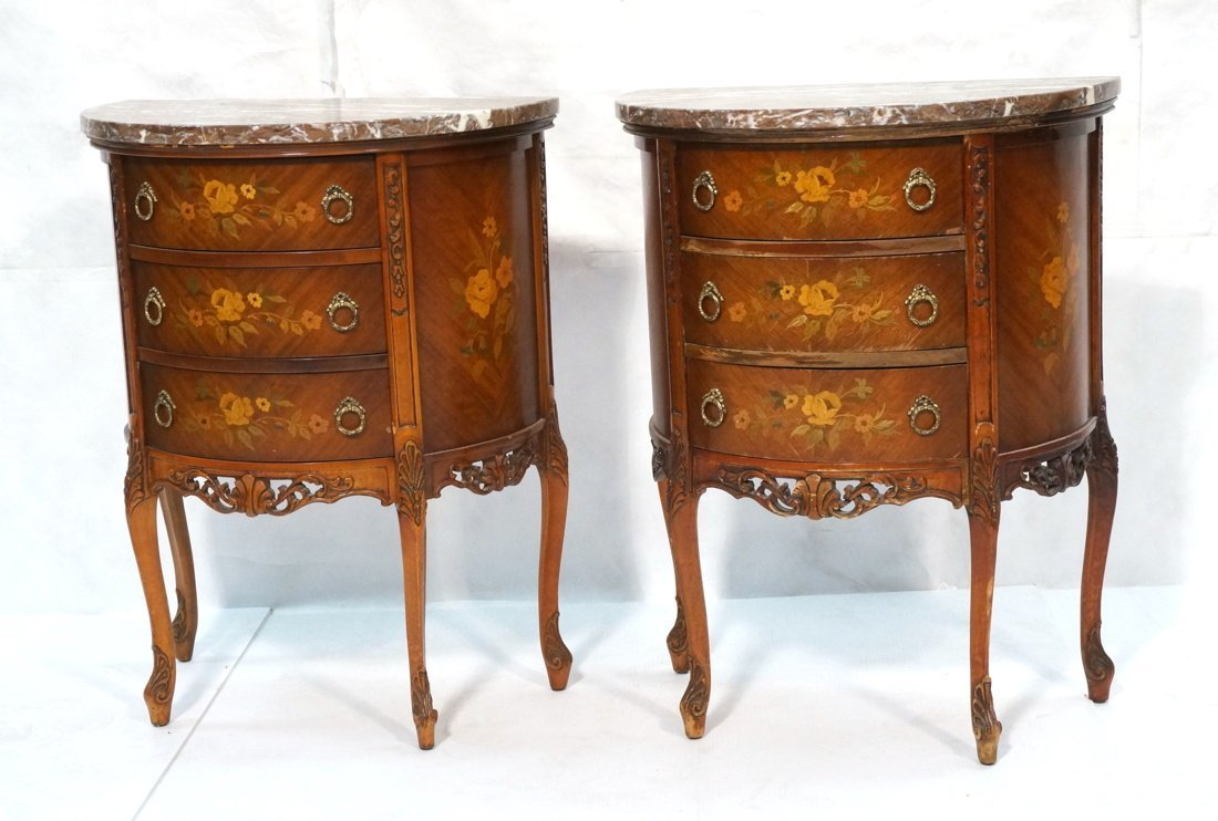 Pr Marble Top End Tables Night Stands. Demi lune
