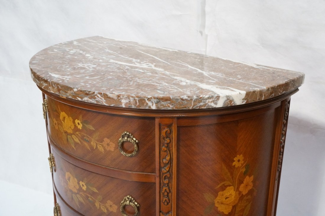 Pr Marble Top End Tables Night Stands. Demi lune - 5