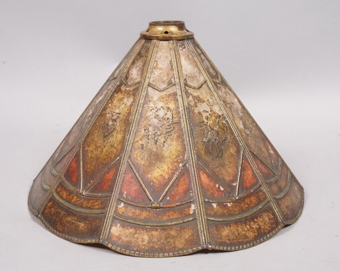 Small Antique Mica Lamp Shade. Ten sided Cone for