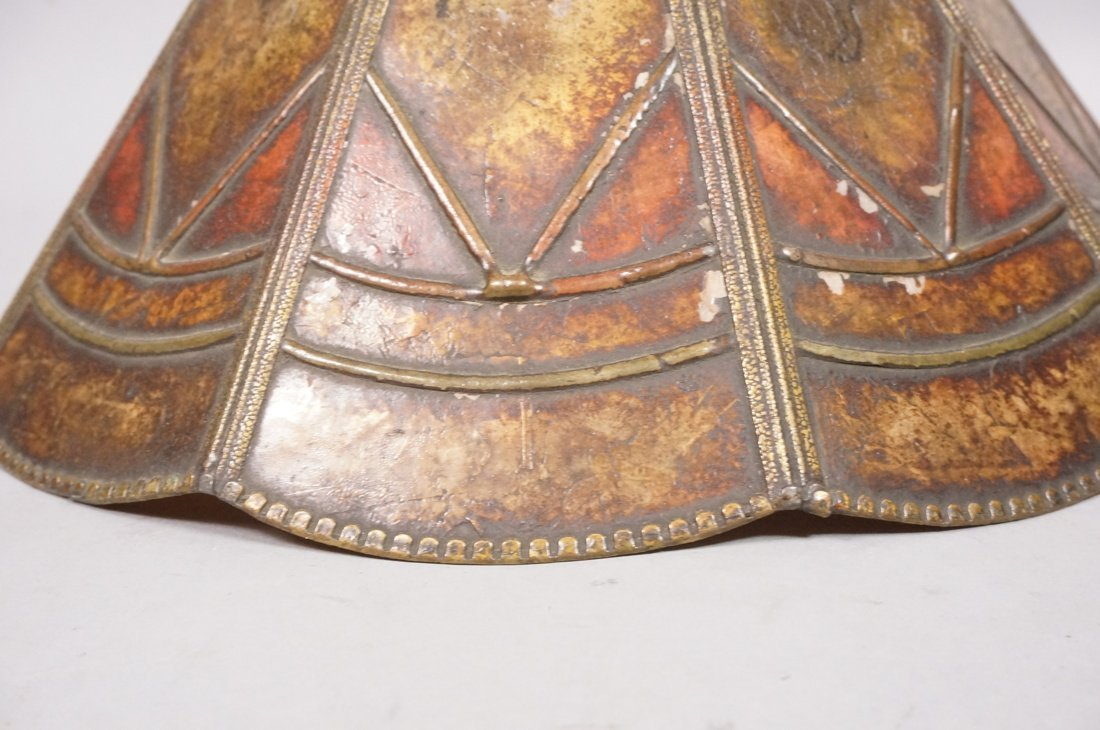 Small Antique Mica Lamp Shade. Ten sided Cone for - 4