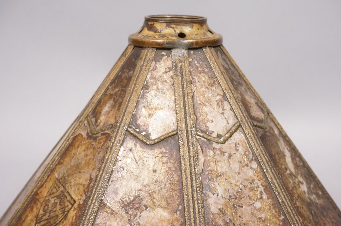 Small Antique Mica Lamp Shade. Ten sided Cone for - 5
