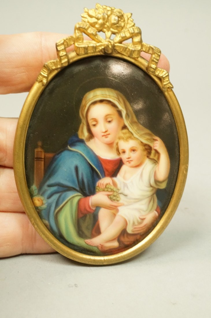 Madonna & Child Painted Oval Porcelain Medallion.
