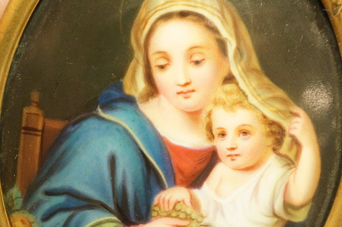 Madonna & Child Painted Oval Porcelain Medallion. - 3
