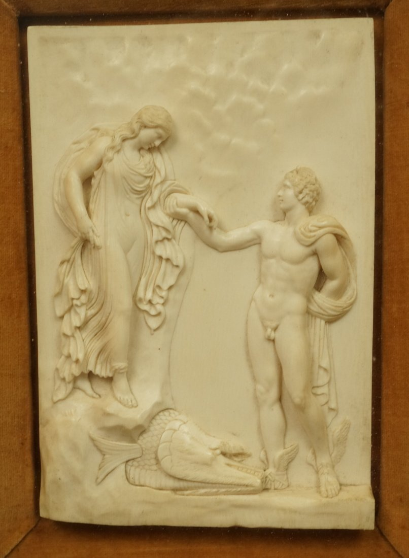 Antique Finely Carved Plaque. Perseus and nymph A