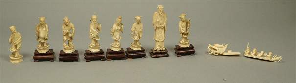 Carved Chinese Figures Sculptures on wood b