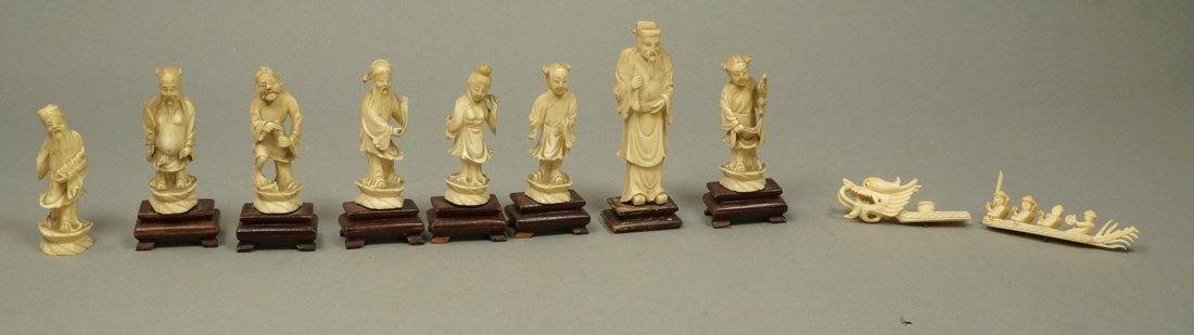 Lot 9 Carved Chinese Figures Sculptures on wood b