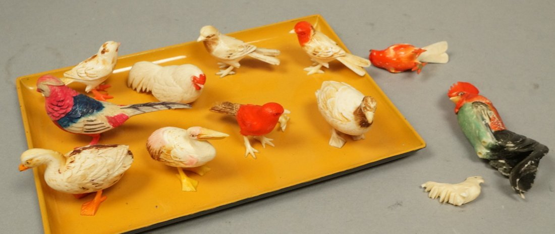 Lot 12 carved figural birds. Many with polychrome
