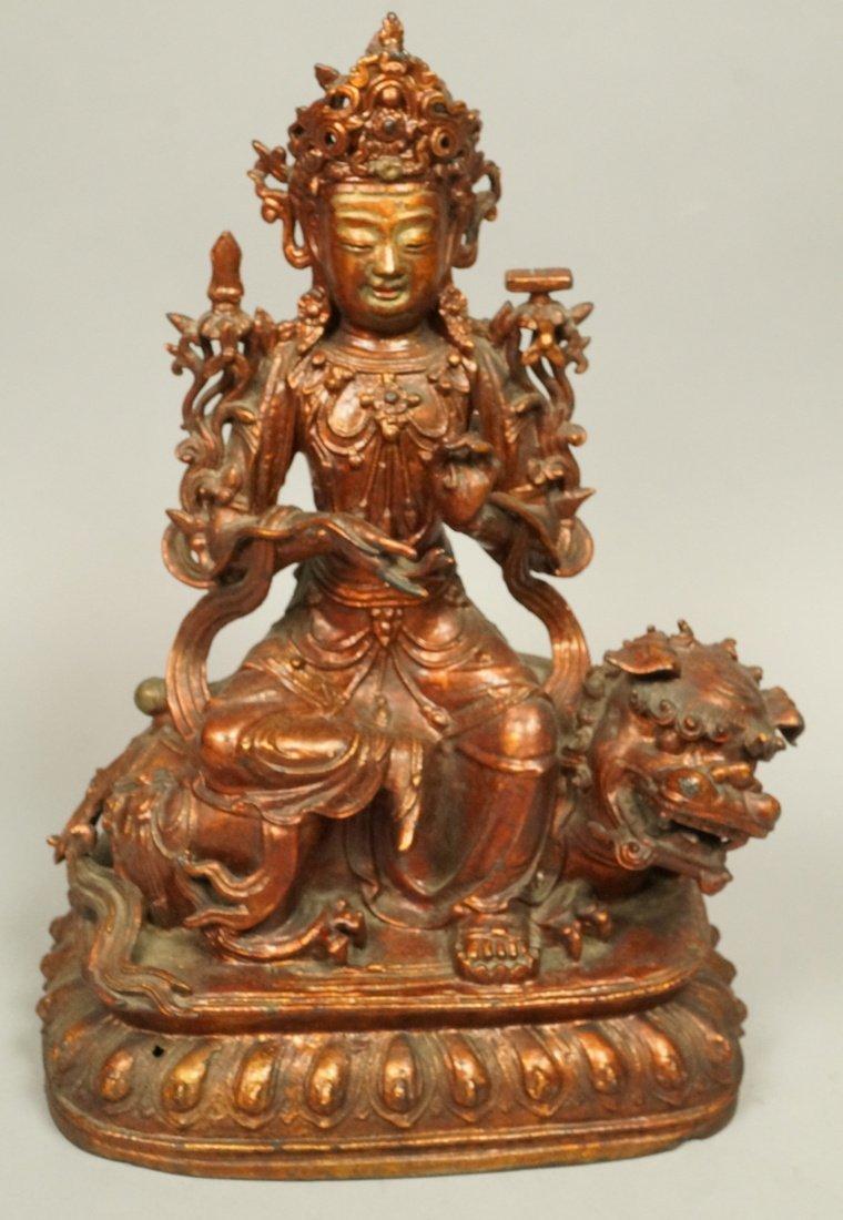 Metal Seated Asian Figure. Colored wash. Deity si