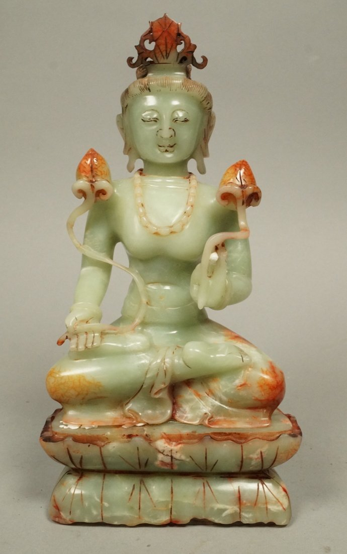 Carved Stone Carving Female Deity. Seated figure