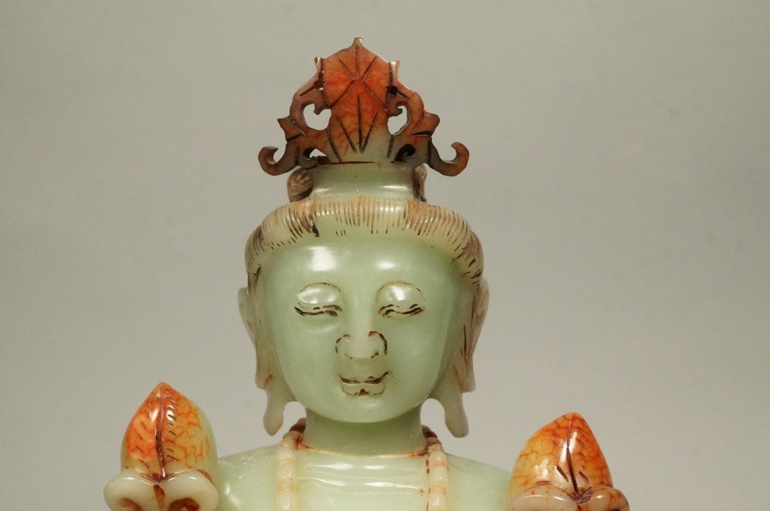 Carved Stone Carving Female Deity. Seated figure - 2