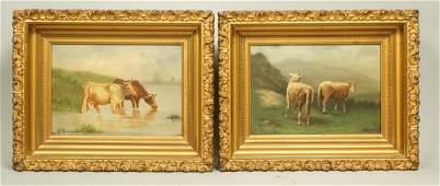 Pr Signed Vintage Oil Paintings. Pastoral Scenes.