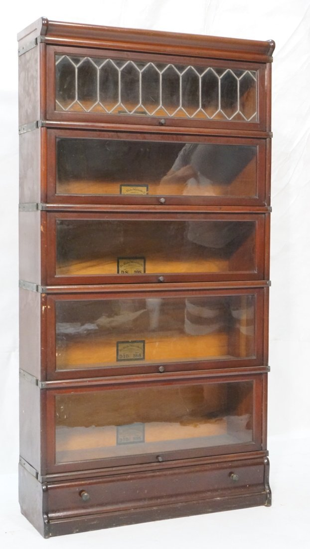 Mahogany Barrister Bookcase. Five stacks; top cas