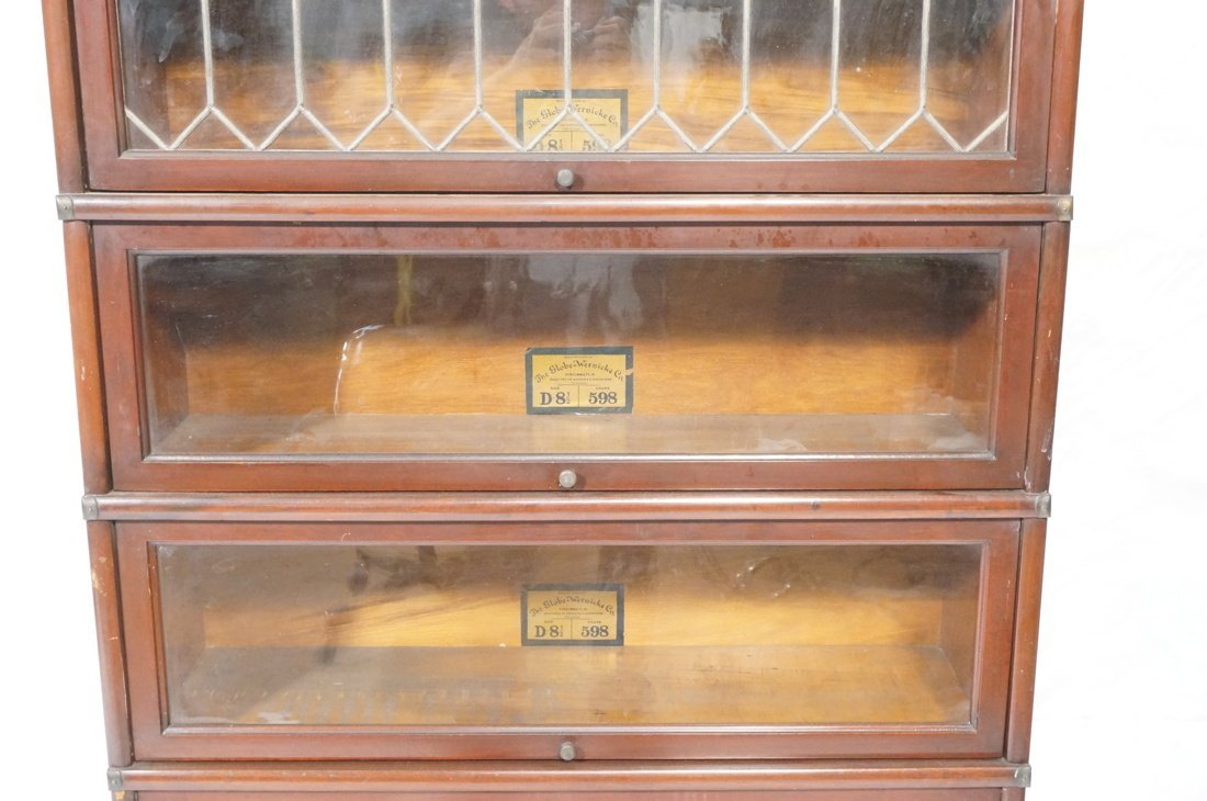 Mahogany Barrister Bookcase. Five stacks; top cas - 3
