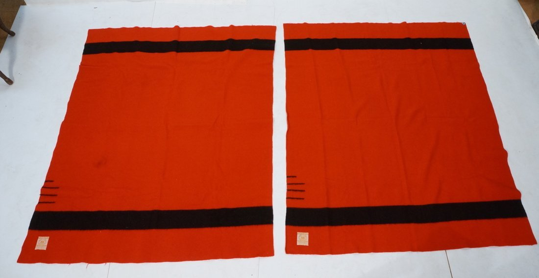 Two HUDSON'S BAY POINT Wool  Blanket. Red 100% Wo
