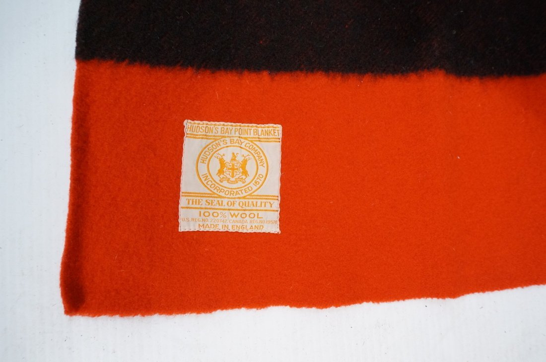 Two HUDSON'S BAY POINT Wool  Blanket. Red 100% Wo - 2
