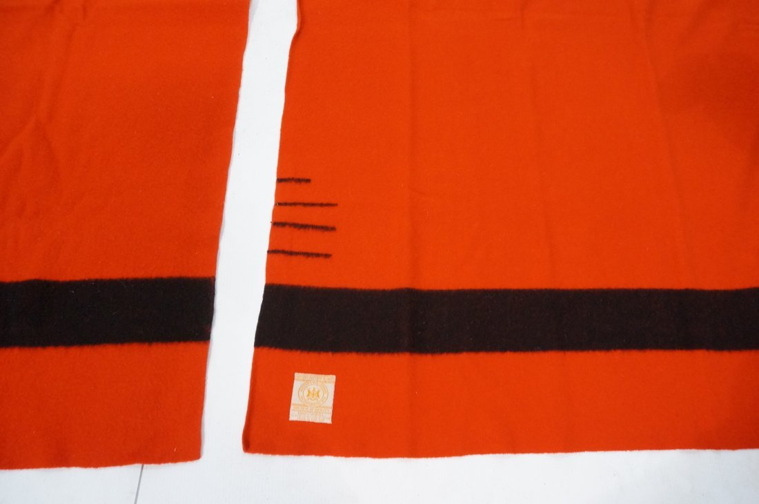 Two HUDSON'S BAY POINT Wool  Blanket. Red 100% Wo - 3