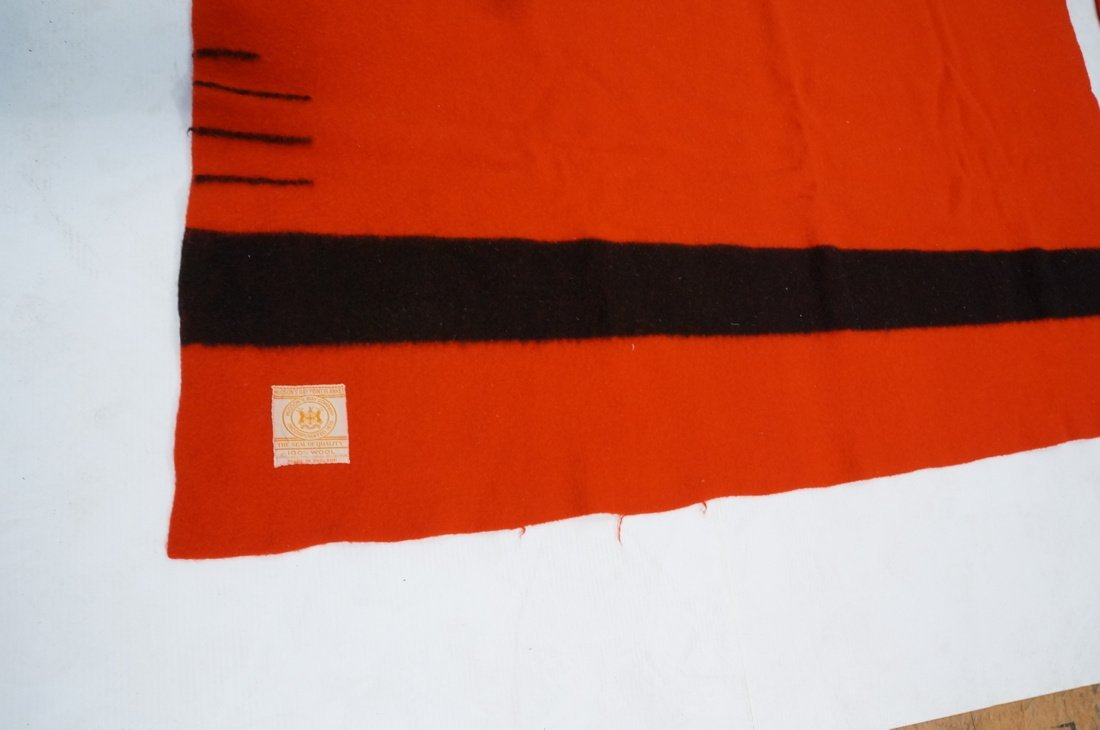 Two HUDSON'S BAY POINT Wool  Blanket. Red 100% Wo - 4