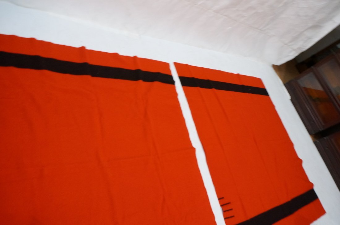 Two HUDSON'S BAY POINT Wool  Blanket. Red 100% Wo - 6