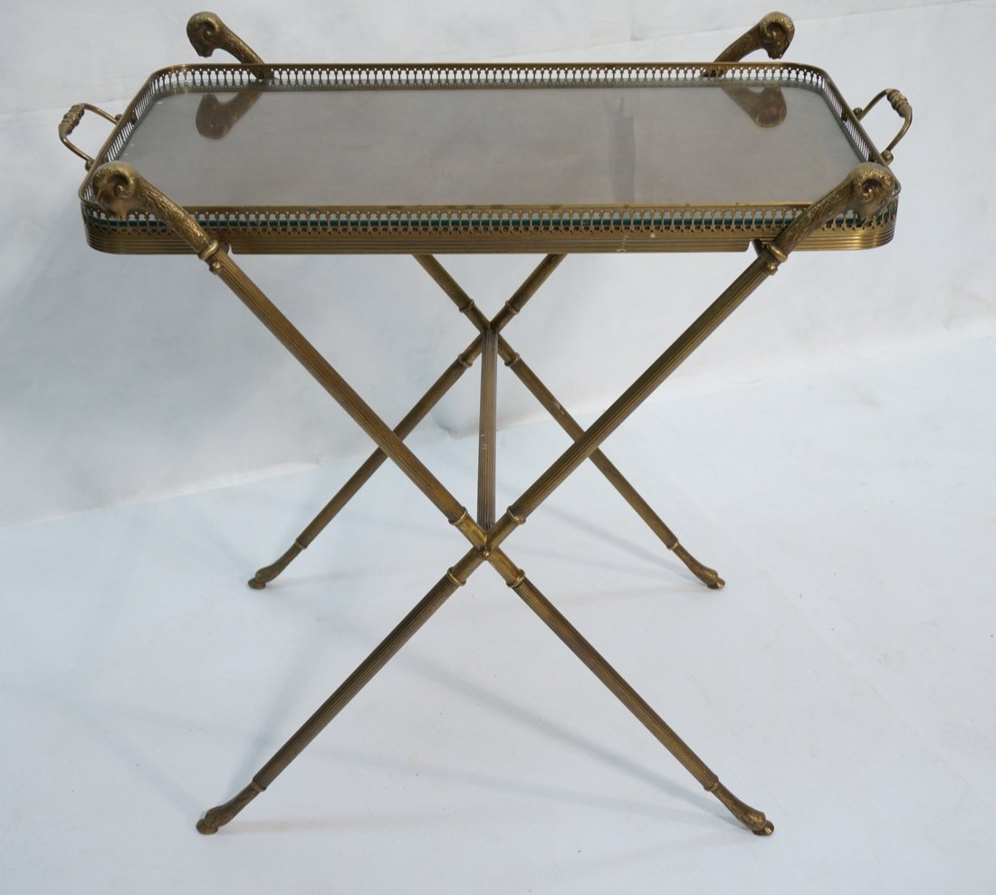 Brass Tray Table with Rams Heads Stand. Banded wo