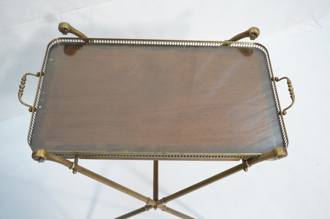 Brass Tray Table with Rams Heads Stand. Banded wo - 2