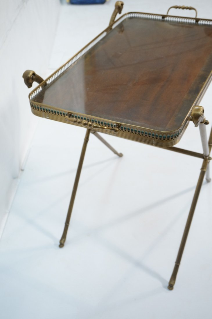 Brass Tray Table with Rams Heads Stand. Banded wo - 3