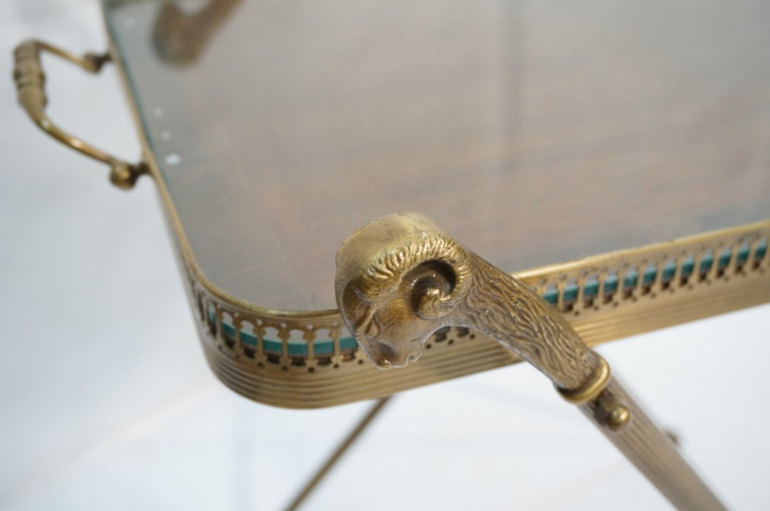Brass Tray Table with Rams Heads Stand. Banded wo - 4